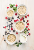 Healthy breakfast: oat flakes in bowls, fresh berries and milk on white wooden background Royalty Free Stock Images