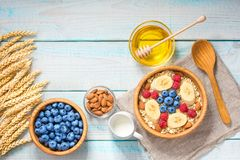 Healthy breakfast with oat flakes, natural milk, fresh blueberri Royalty Free Stock Photography