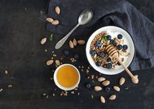 Healthy breakfast. Oat granola with fresh Stock Photos