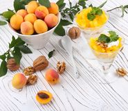 Healthy breakfast. Oat granola with yoghurt, apricot on a light Stock Photos