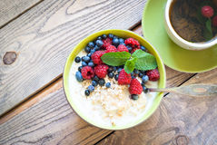 Healthy breakfast - oatmeal with berries Stock Image