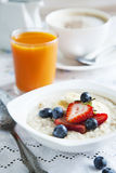 Healthy breakfast with Oatmeal and Berries Royalty Free Stock Photo