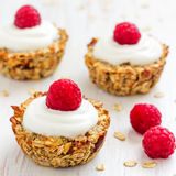 Healthy Breakfast Oatmeal Cups with Raspberries. Start your day with these easy to make healthy breakfast oatmeal cups Stock Photography