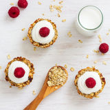 Healthy Breakfast Oatmeal Cups with Raspberries. Start your day with these easy to make healthy breakfast oatmeal cups Stock Images