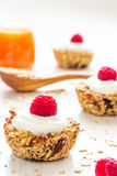 Healthy Breakfast Oatmeal Cups with Raspberries. Start your day with these easy to make healthy breakfast oatmeal cups Royalty Free Stock Image