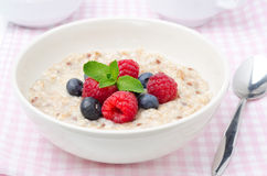 Healthy breakfast - oatmeal with fresh berries, horizontal Royalty Free Stock Photography