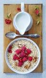 Healthy breakfast - Oatmeal, yogurt, fresh fruit, honey Royalty Free Stock Image