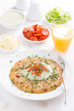 Healthy breakfast - omelette with carrots, tomatoes Stock Photography
