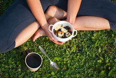 Healthy breakfast outdoors Stock Images
