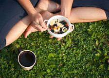 Healthy breakfast outdoors Royalty Free Stock Images