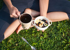 Healthy breakfast outdoors Stock Photos