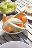 Healthy breakfast outside on table Royalty Free Stock Photos