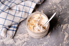 Healthy breakfast overnight oats with cocos and banana Stock Photography
