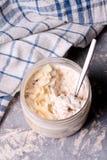 Healthy breakfast overnight oats with cocos and banana Royalty Free Stock Photos