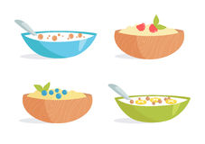 Healthy Breakfast. Porridge. Cereal, berries, milk, fruit. Vector illustration. Cartoon Isolated on white background Illustrations for cooking site menus books Royalty Free Stock Photo