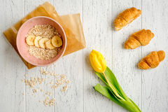 Healthy breakfast with porridge on wooden background top view Royalty Free Stock Photography