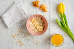 Healthy breakfast with porridge on wooden background top view Royalty Free Stock Photos