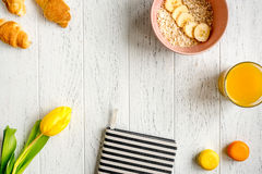 Healthy breakfast with porridge on wooden background top view Royalty Free Stock Images