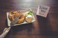 Healthy breakfast prepared with love Stock Image