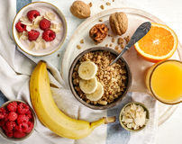 Healthy breakfast products stock photo