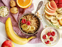 Healthy breakfast products stock photos