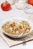 Healthy breakfast quinoa with apple and coconut, vertical. Top view stock photography