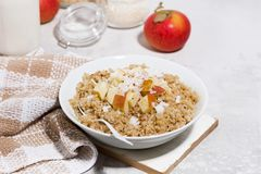 Healthy breakfast quinoa with apple and coconut on white table. Horizontal royalty free stock photo