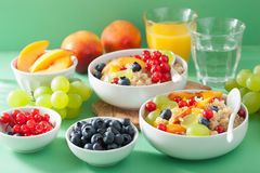 Healthy breakfast quinoa with fruits berry nectarine blueberry g Stock Photos