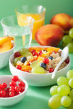Healthy breakfast quinoa with fruits berry nectarine blueberry grape Royalty Free Stock Photography