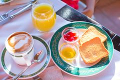 Healthy breakfast in restaraunt resort outdoor Royalty Free Stock Images