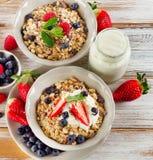 Healthy Breakfast with ripe  berries, yogurt  and  muesli. Stock Image