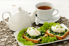 Healthy breakfast - sandwich with creme cheese, spinach and poached egg. Stock Photos