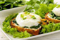 Healthy breakfast - sandwich with creme cheese, spinach and poached egg. Royalty Free Stock Photography