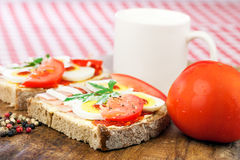 Healthy breakfast, sandwich with tomato Stock Image