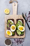 Healthy breakfast. sandwich with vegetables and eggs. Rye bread with avocado, egg, cucumber, cream cheese and sprouts on a cutting board on a gray background stock photography