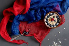 Healthy breakfast with scarfs royalty free stock images