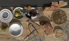 Healthy breakfast scene, top view. 3d render Royalty Free Stock Image