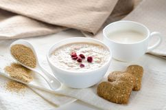 Healthy breakfast. Sesame dry cookies in the form of heart Royalty Free Stock Image