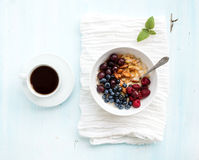 Healthy breakfast set. Bowl of oat porridge with Royalty Free Stock Images