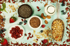 Healthy Breakfast set with granola, superfoods, almond milk and Stock Photo