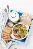 Healthy breakfast set with muesli, berries and milk Royalty Free Stock Photography