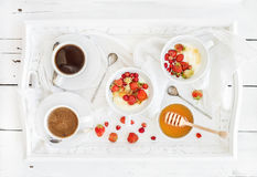 Healthy breakfast set. Yogurt, honey and wild Royalty Free Stock Photos