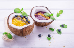Healthy breakfast smoothie mango and berries Stock Photo