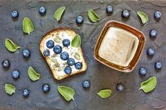Healthy breakfast, snack, Delicious, Toast, blueberries, chia se stock photos