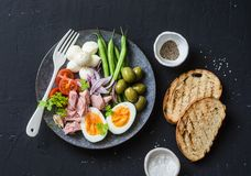 Healthy breakfast or snack - plate of canned tuna, green beans, mozzarella cheese, tomatoes, boiled egg, olives, grilled bread a d Royalty Free Stock Image