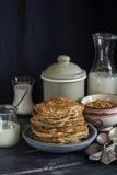 Healthy breakfast or snack - whole grain pumpkin pancake Stock Photos