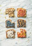 Healthy breakfast or snack with wholegrain toasts, top view royalty free stock photography