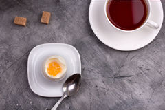 Healthy breakfast. Soft-boiled egg with tea Stock Photography