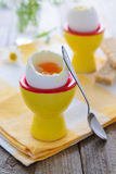Healthy breakfast: soft boiled eggs Stock Photo