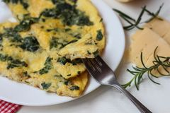 Healthy breakfast with spinach omelet royalty free stock photos
